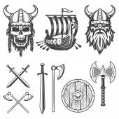 Fotografie Sada prvků monochromatických viking