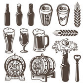 Photo Set of vintage beer and brewery elements