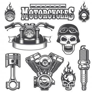 Set of vintage monochrome motorcycle elements