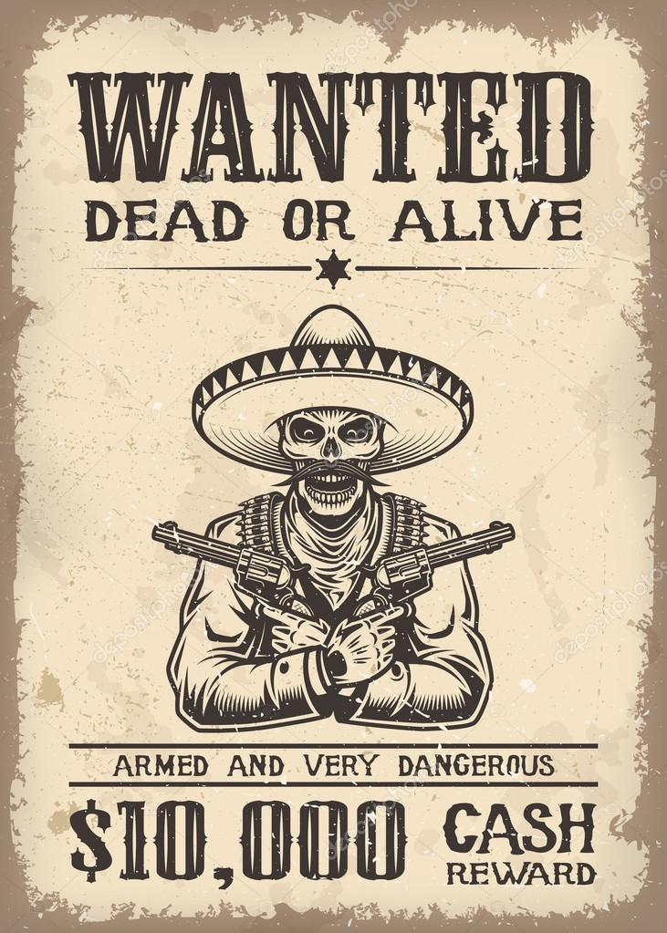 Old Western Wanted Poster Template from st2.depositphotos.com