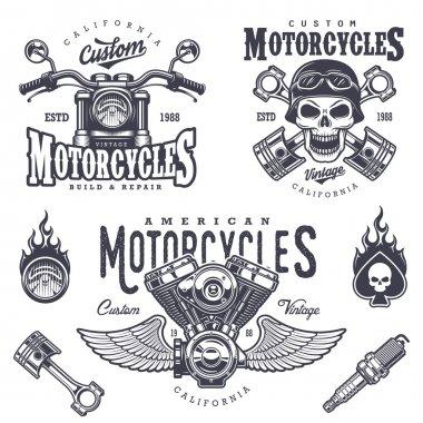 Set of vintage motorcycle emblems