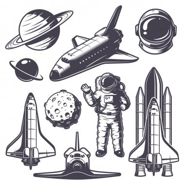 Set of vintage space elements