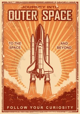 Vintage space poster with shuttle