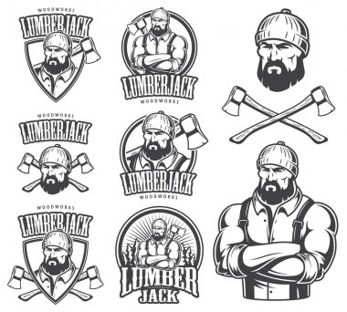 Vector illustration of lumberjack emblems