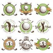 Reihe von Vintage Golf Emblemen