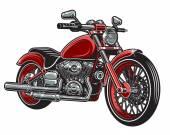 Vektoros illusztráció piros motorkerékpár