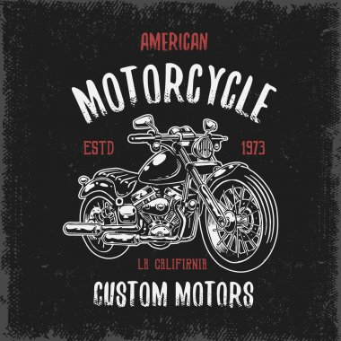 T-shirt print with hand drawn motorcycle