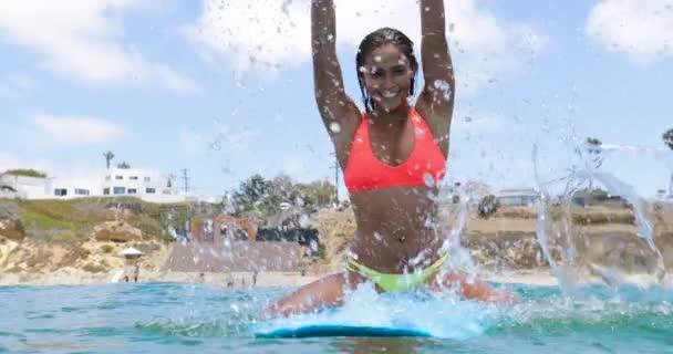 Slow Motion Girl Surfing Wave On Longboard