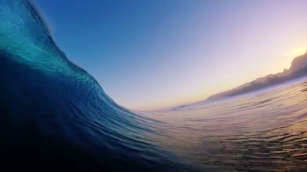 POV Surfing View Empty Ocean Wave Crashing