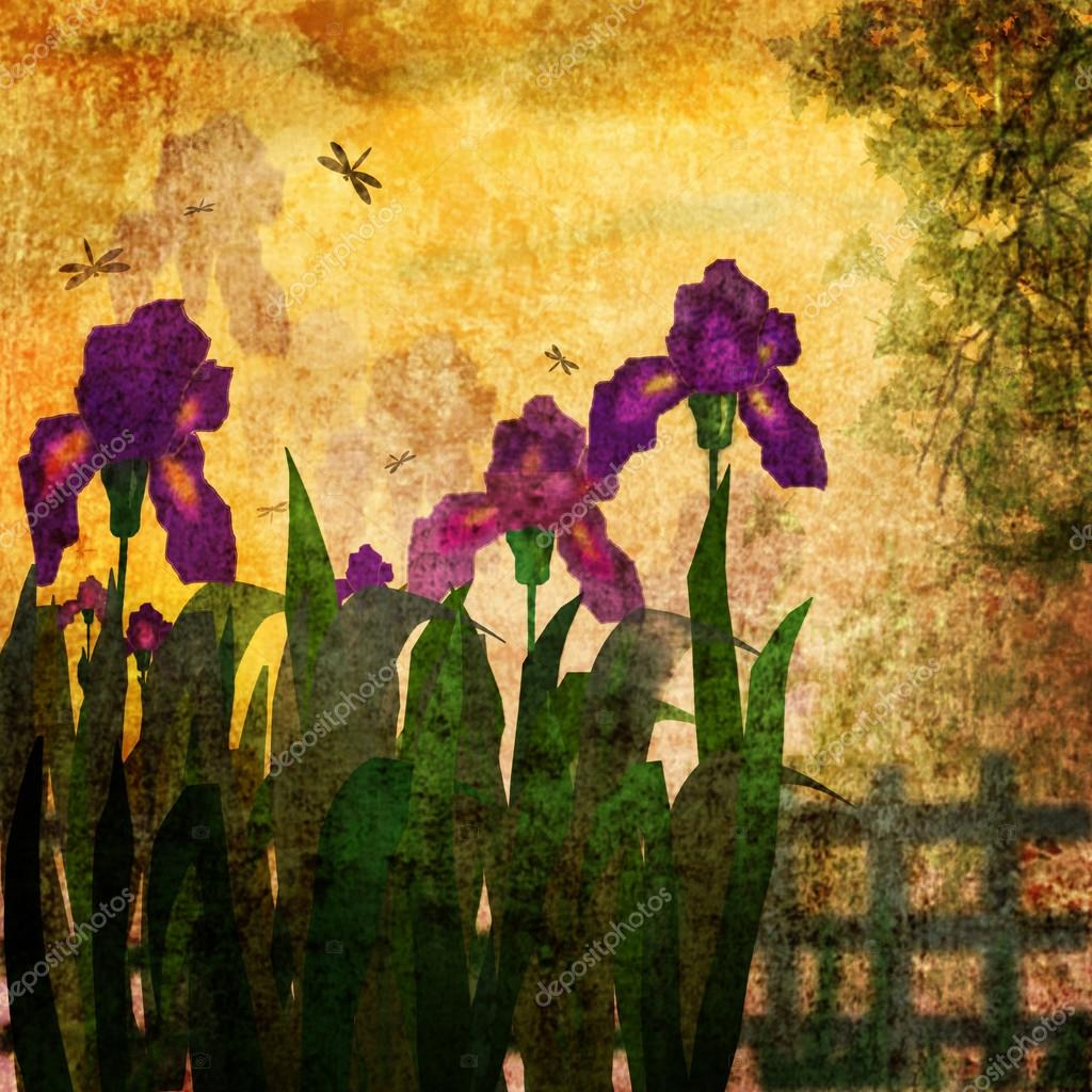 Painting iris flowers grunge vintage background stock photo painting iris flowers grunge vintage background stock photo izmirmasajfo
