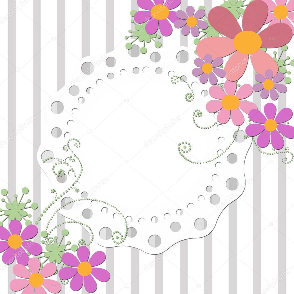 Tarjeta de invitación de boda marco floral fondo rayada — Foto de ...