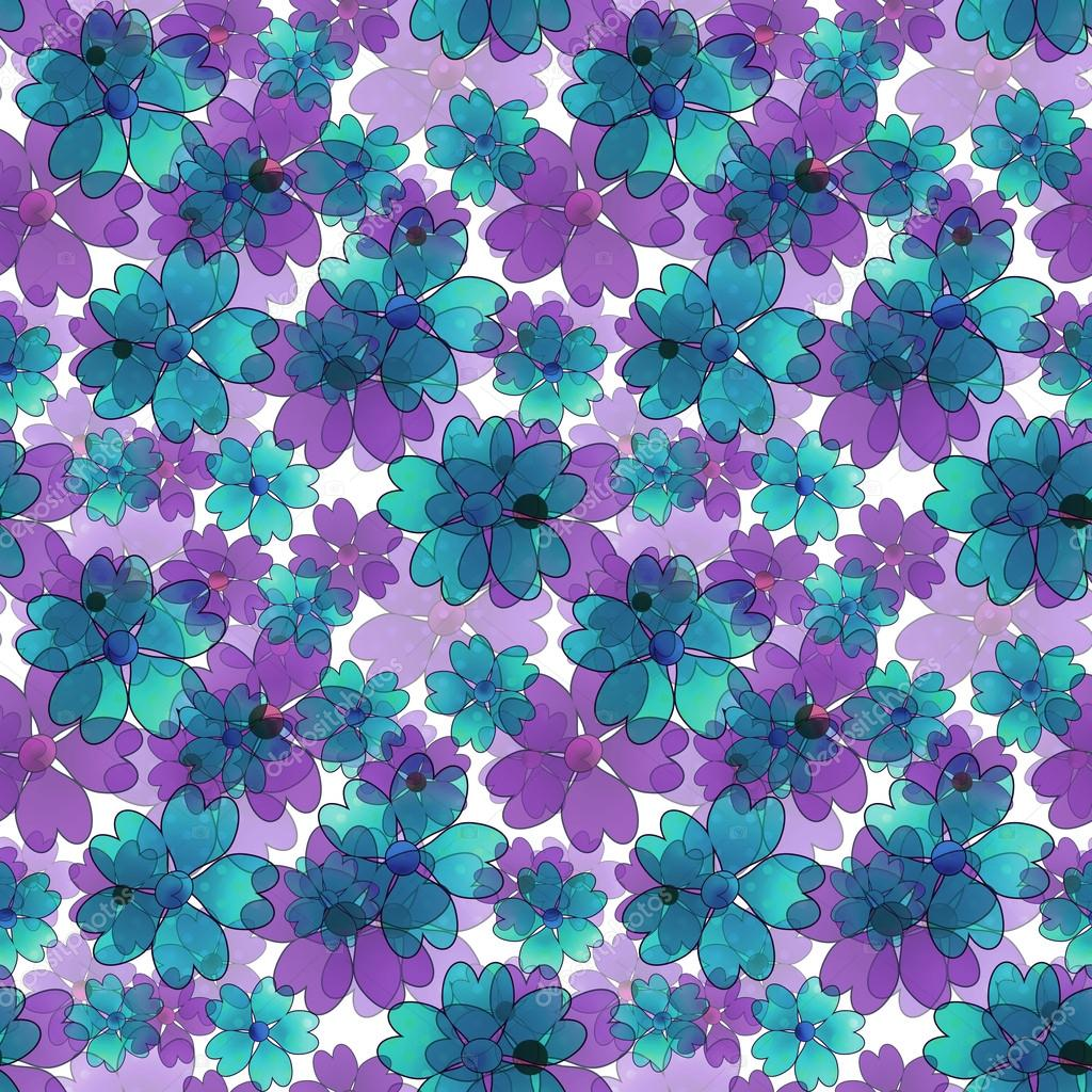 Seamless Floral Pattern Wallpaper Blue Purple Flower White Background Photo By Fuzzyfoxer