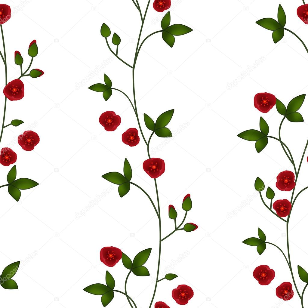 Seamless Floral Pattern Red Flowers White Texture Background Photo By Fuzzyfoxer