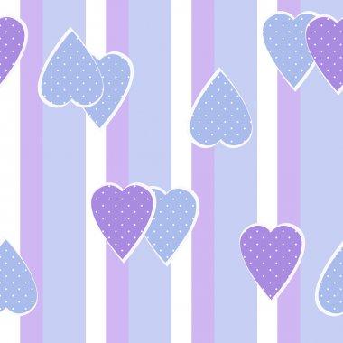 Patchwork vertical stripes geometrical hearts pattern texture ba
