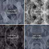 Black background set abstract polygon triangle vector. Fashion b