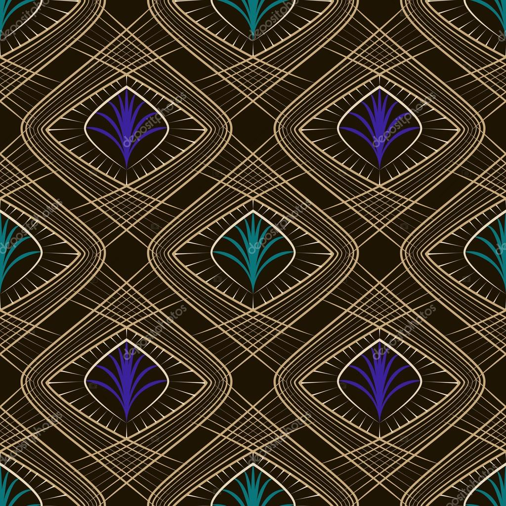 Seamless beautiful art deco pattern ornament. Geometric backgrou