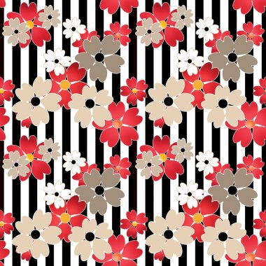 Seamless cute cartoon flowers pattern on striped background