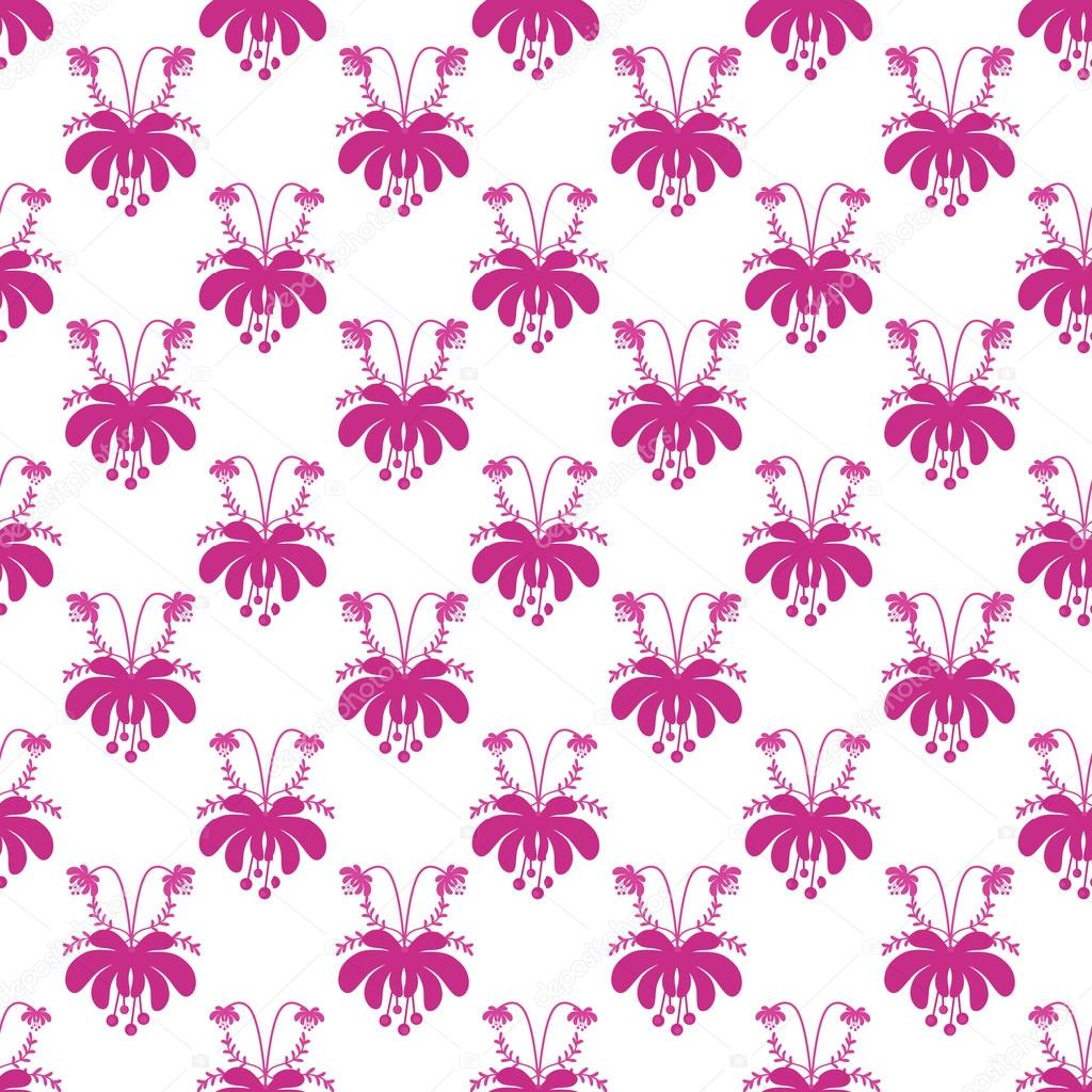 Seamless Cute Pink Cartoon Flowers Pattern On White Background Photo By Fuzzyfoxer