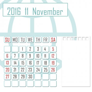 Abstract design 2016 calendar with note space for november