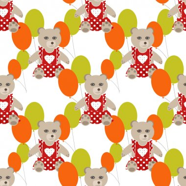 Illustration of seamless pattern with colorful toys bears teddy