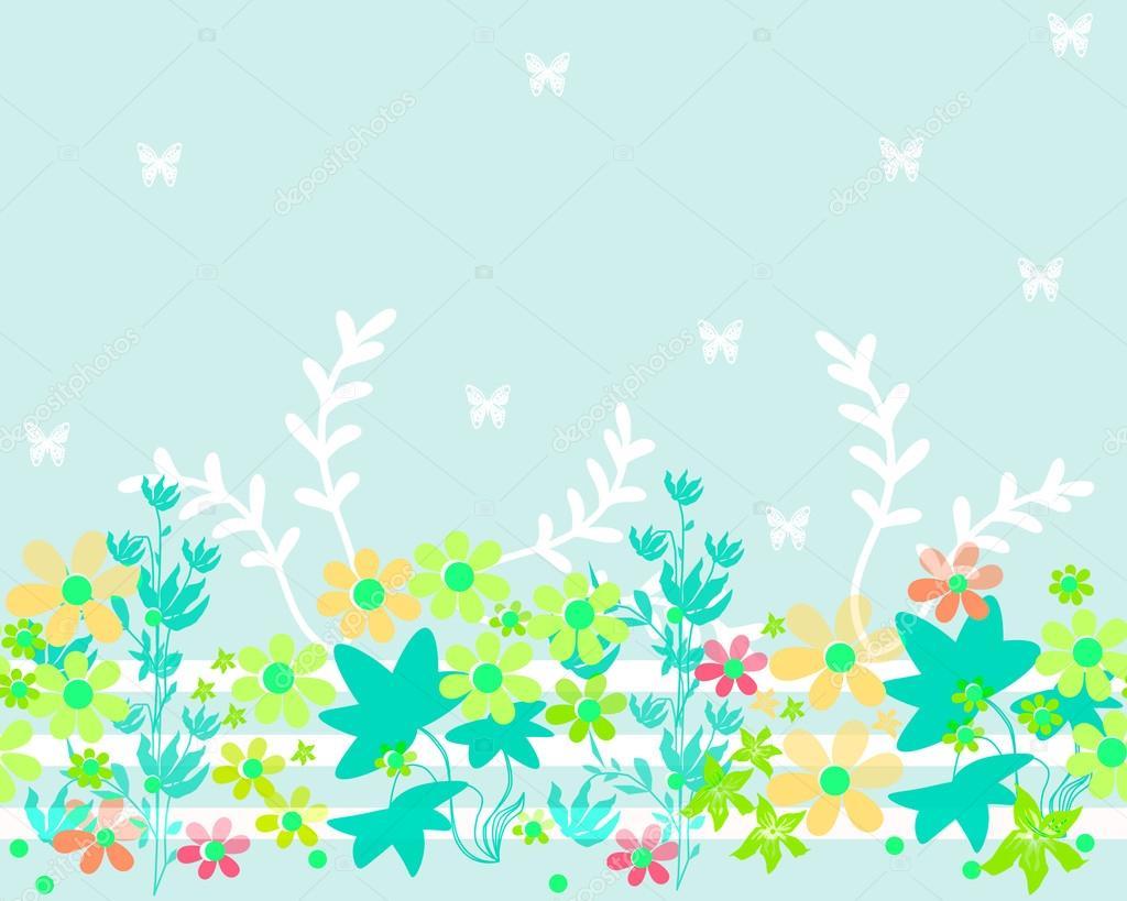 Flores Horizontales Dibujos Animados Patrón De Fondo