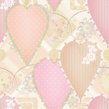 Patchwork design seamless pattern with hearts and elements backg