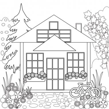 Coloring page book. Garden floral illustration black and white