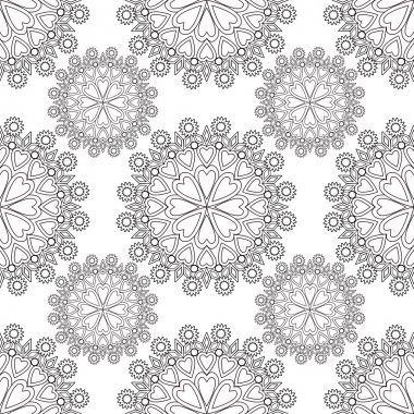 Seamless Monochrome Floral Pattern. Hearts Floral Texture, Decor