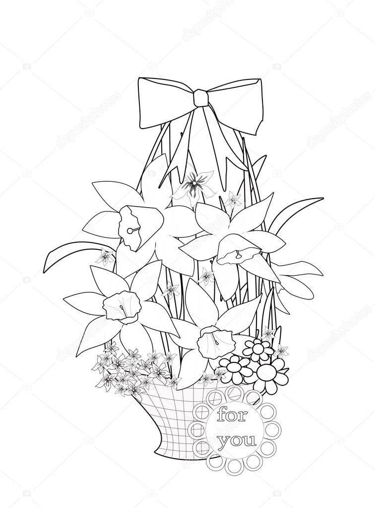 çiçek Sepeti Siyah Ve Beyaz Illustrati Ile Sayfa Boyama Stok Foto