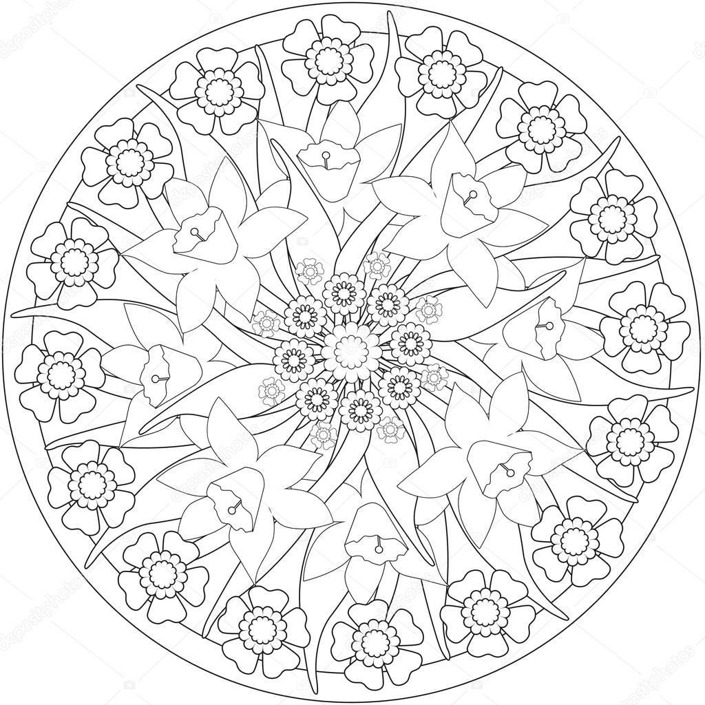 ページ大人塗り絵花のイラスト白黒 Wi ストック写真 Fuzzyfoxer