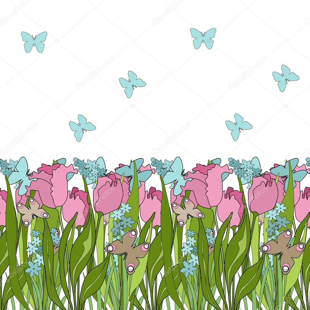 Floral Seamless Pattern In Cartoon Style Cute Pink Flowers Back