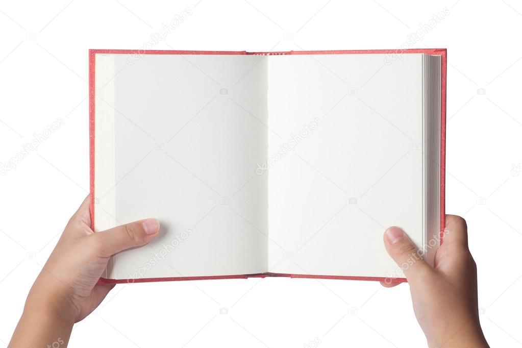 Un Hombre Sostiene Un Libro En Blanco