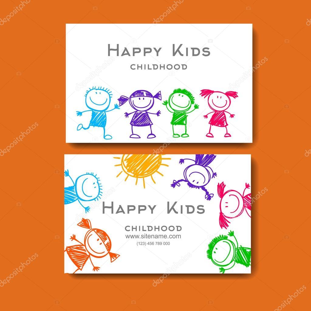 Carte De Visite Avec Une Photo Des Enfants Illustration Stock