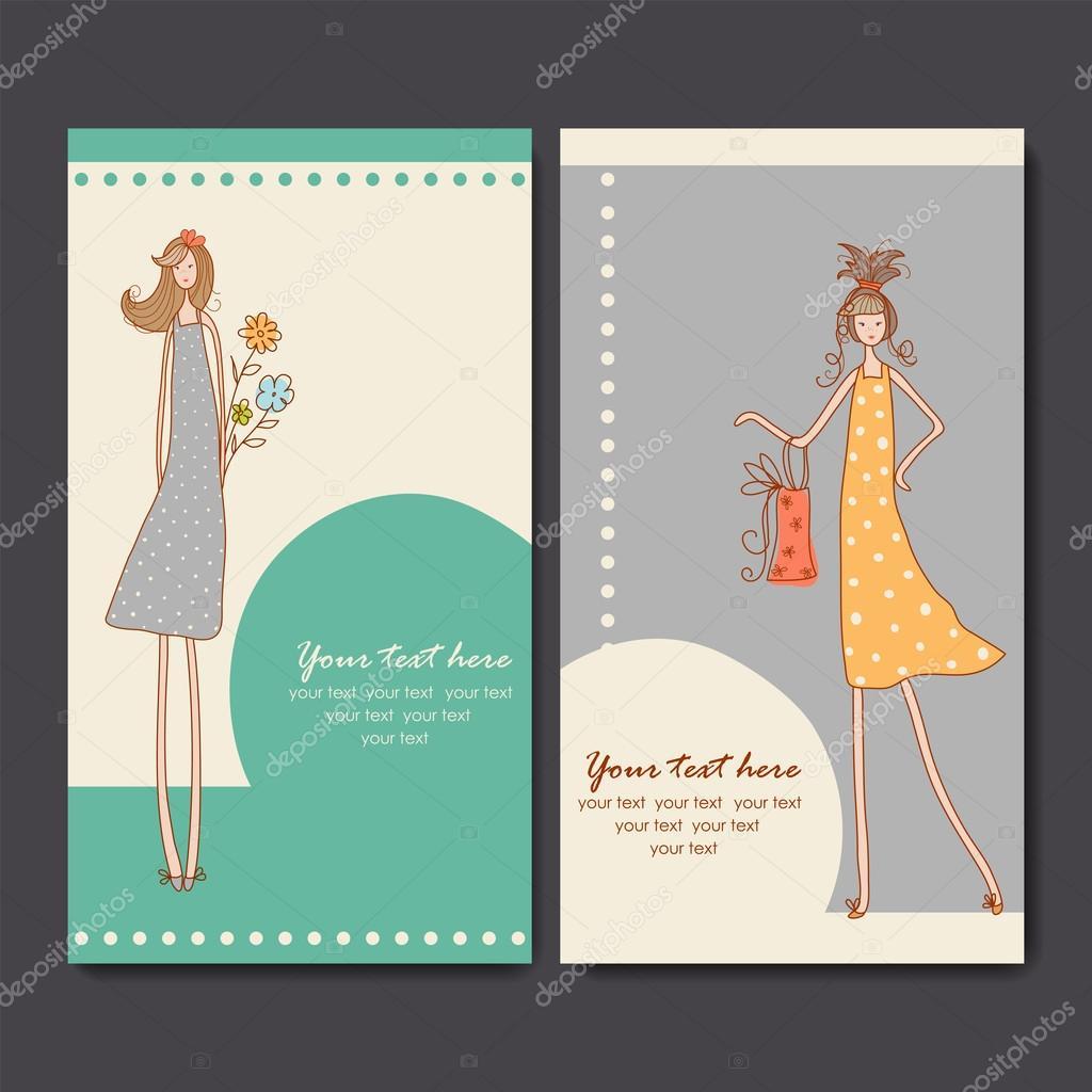 Visitenkarten Mit Mode Mädchen Stockvektor Color885