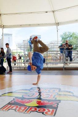 PERM, RUSSIA - JUN 6, 2014: Breakdancer on White Nights festival
