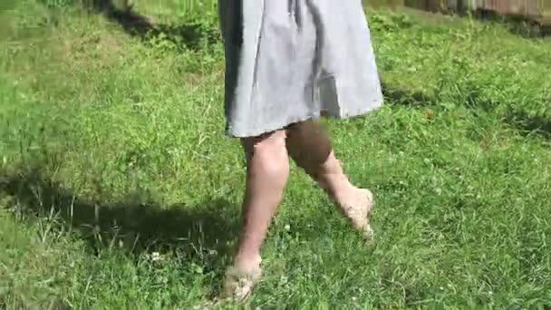 Bosý nohy mladá žena ve vysoké trávě na léto