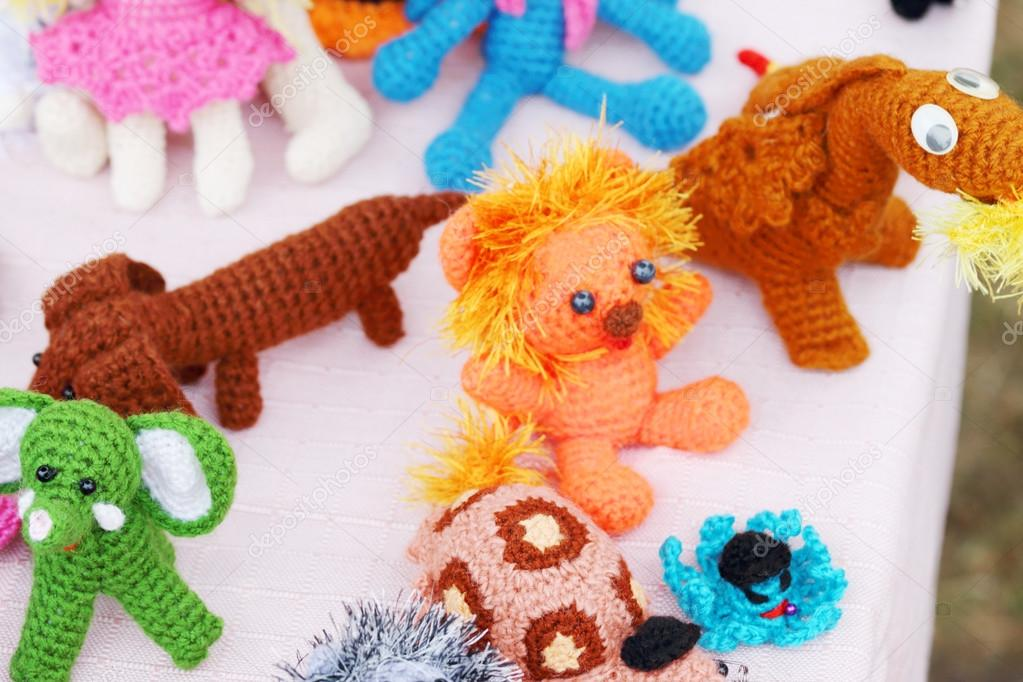 Knitted Toys At Fair Of Different Handicrafts At Fair Stock