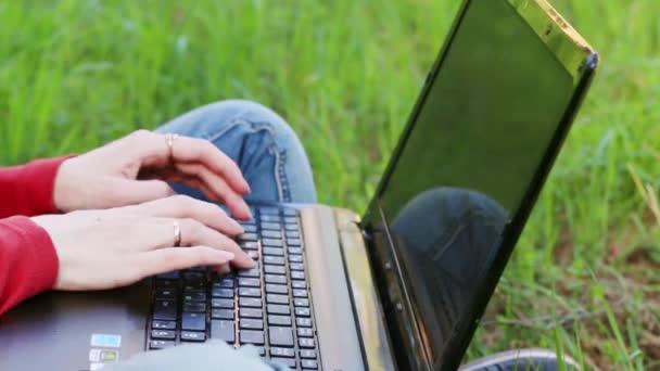 Ruce ženy, psaní na notebooku a sedět na trávě