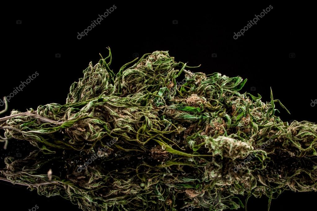 Cannabis on a black background
