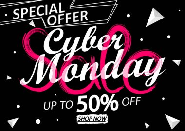 Cyber Monday Sale, up to 50% off, poster design template, clearance offer, end of season deal, vector illustration