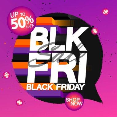 Black Friday Sale 50% off, discount poster design template, final season offer, promotion banner, vector illustration