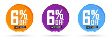 Set Sale 6% off banners, discount tags design template, promo app icons, vector illustration