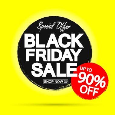 Black Friday Sale 90% off, discount poster design template, final season offer, promotion banner, vector illustration