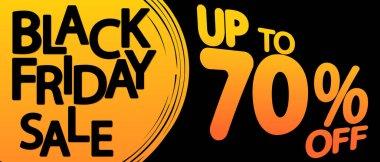 Black Friday Sale 70% off, discount poster design template, special offer, promotion banner, vector illustration