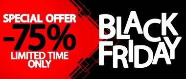 Black Friday Sale 75% off, discount poster design template, special offer, promotion banner, vector illustration