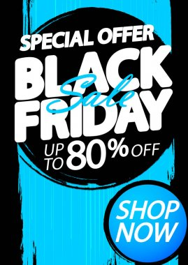 Black Friday Sale 80% off, discount poster design template, special offer, promotion banner, vector illustration