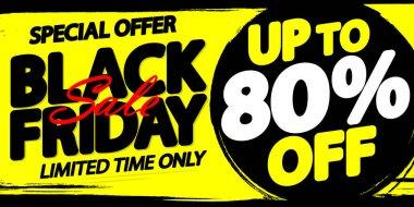 Black Friday Sale 80% off, discount poster design template, special offer, promotion banner, vector illustration
