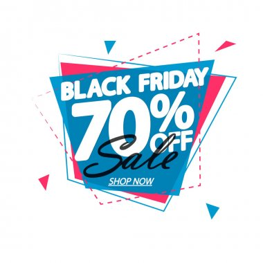 Black Friday Sale up to 70% off, banner design template, clearance offer, end of season, vector illustration