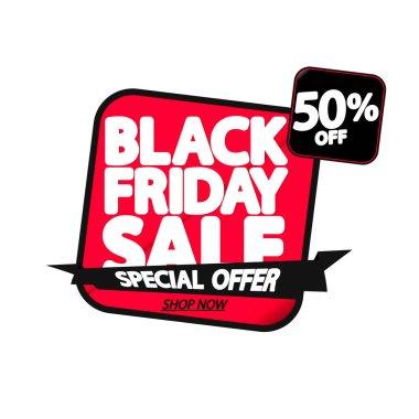 Black Friday Sale up to 50% off, banner design template, special offer, end of season, vector illustration