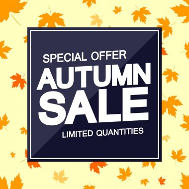 Autumn Sale, poster design template, Fall discount banner, special offer, vector illustration